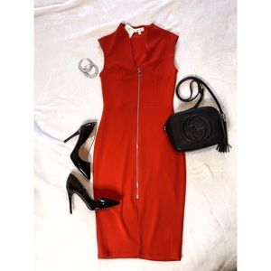 Red Body-con Midi Dress